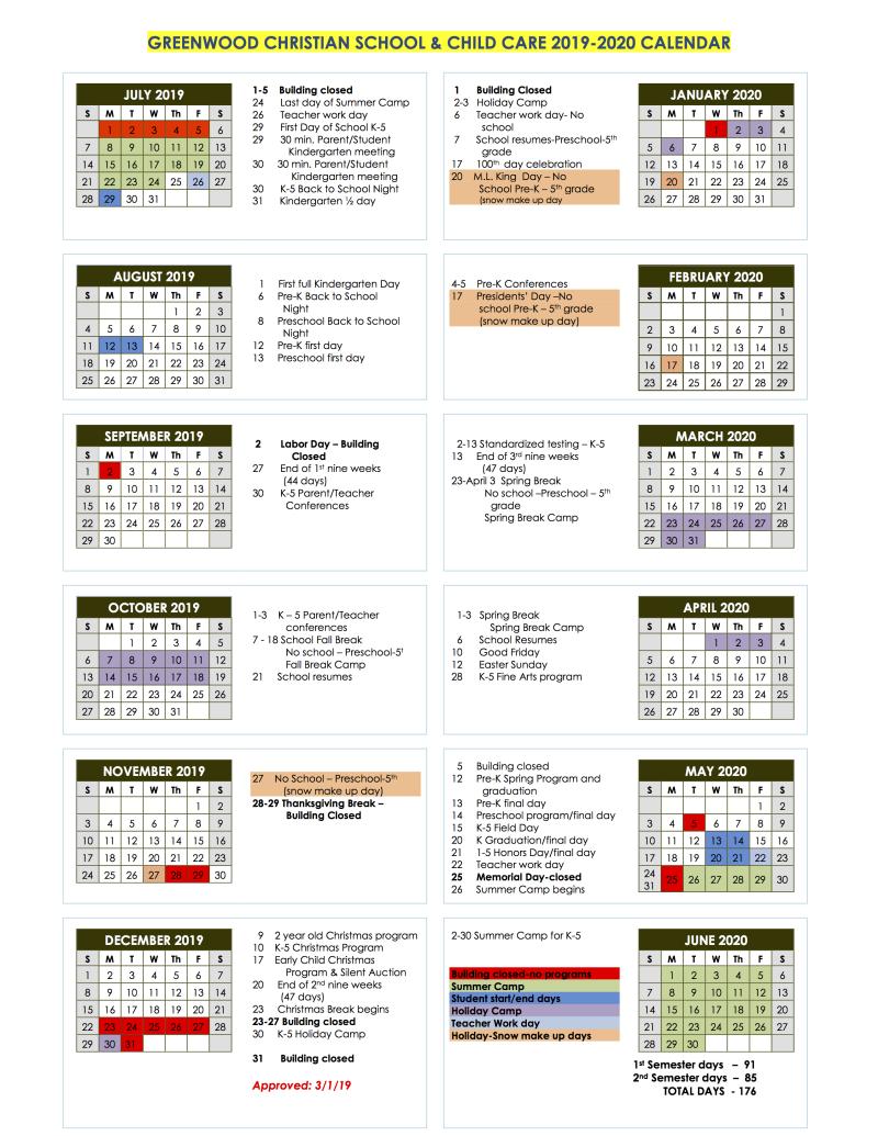 GCS Calendar   Greenwood Christian Church